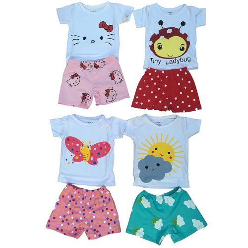 Combo 4 bộ quần áo trẻ sơ sinh bằng coton 100% loại có tay mẫu XK