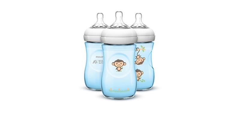 Bình sữa Avent Natural 260ml hoa văn màu xanh