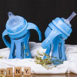 Bình Sữa Thủy Tinh Vỏ Silicone Báo Nóng Tiny Đa Năng 240ml